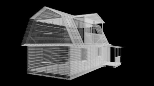 Dům 3d vykreslené Xray modré transparentní