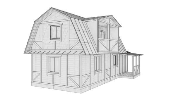 3D ilustrační video otočit malý rám domu