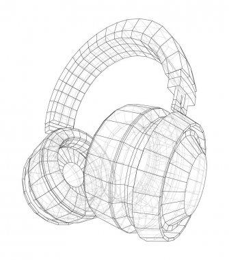 Headphones concept outline. Vector