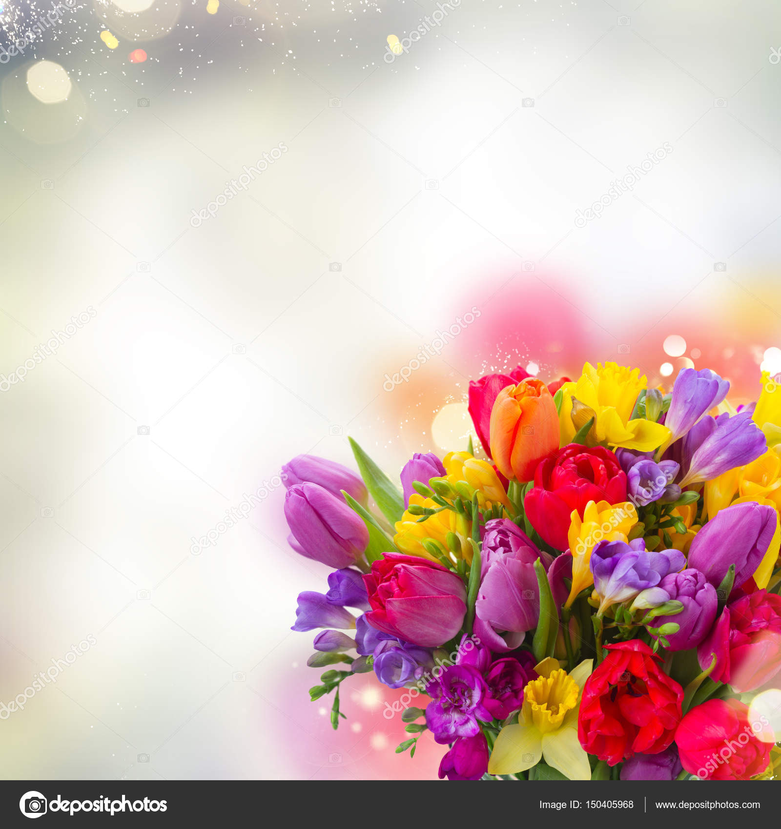 Bouquet of bright spring flowers stock photo neirfys 150405968 bouquet of bright spring flowers close up over gray bokeh background photo by neirfys mightylinksfo