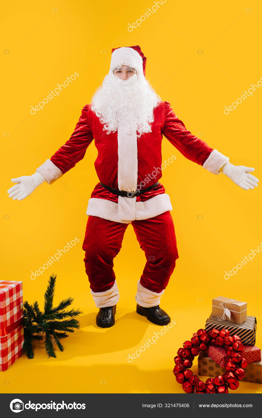 Happy Dancing Santa Claus Squating With Hands And Knees Apart Like Shrugging Stock Photo C Zzzdim 321475406