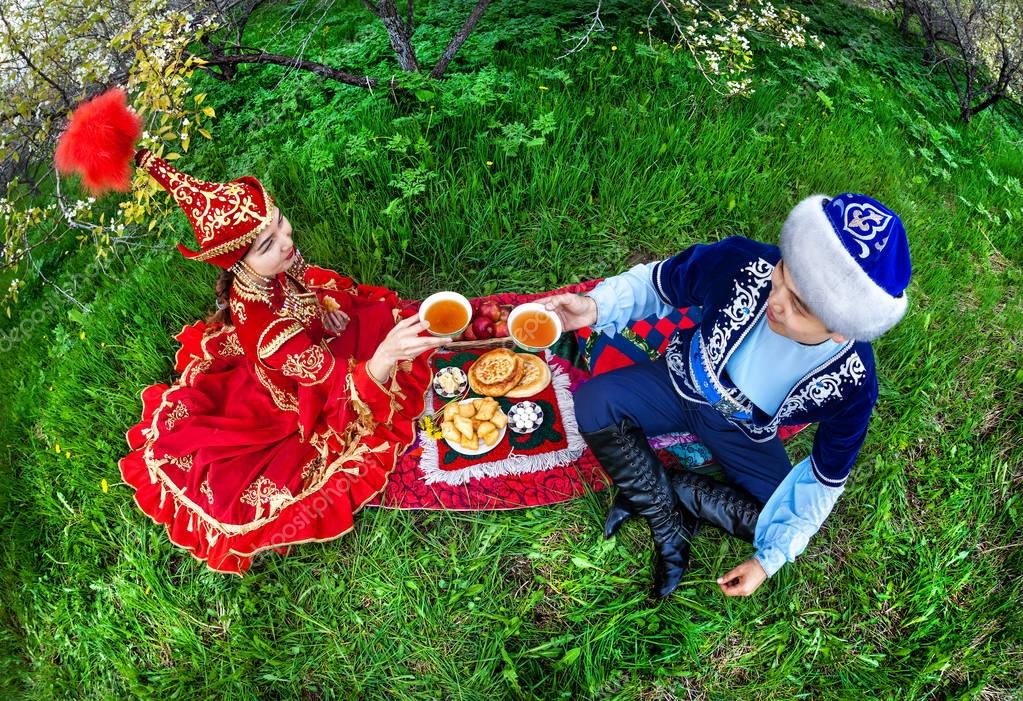 Kazakh couple in the garden
