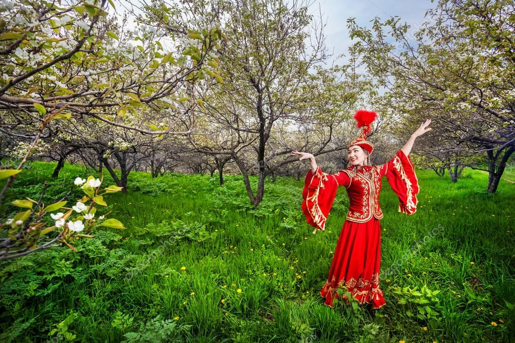 Kazakh dancer in traditional costume
