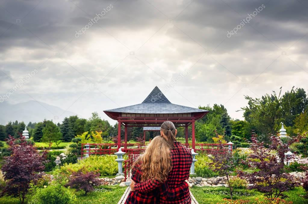 Romantic Couple in Japanese pagoda