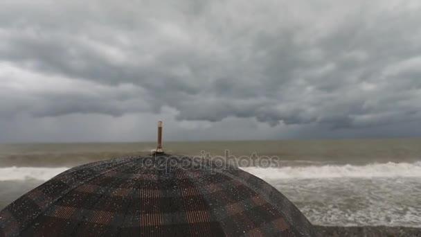 Frau mit Regenschirm nahe stürmischer See