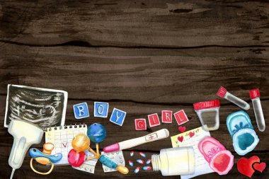 Watercolor flatlay illustration of expecting baby symbols on wooden background