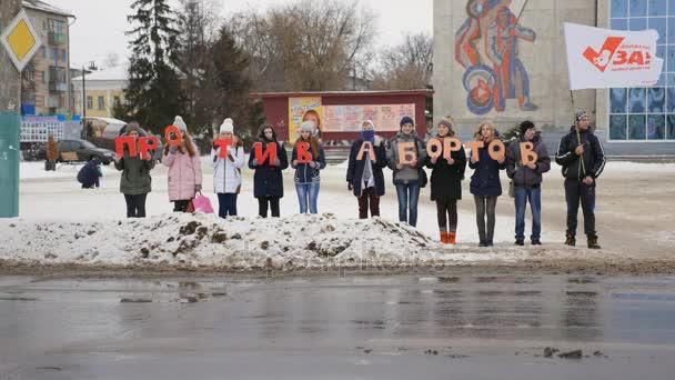 Mzensk, Russland 20. Dezember 2016. Editorial - ein Leben ohne Abtreibung Freiwilligen marschieren auf den zentralen Platz Mzensk, mit dem Ziel der Erhaltung von Leben Wir für Leben gegen Abtreibung Bewegung für