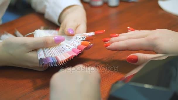 The Nail Design Job Manicurist Closeup Stock Video 999studiy