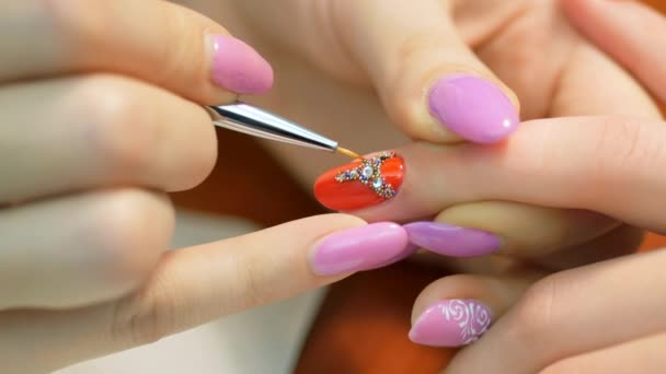 Girl Decorates Nail Rhinestones Nail Design With Rhinestones