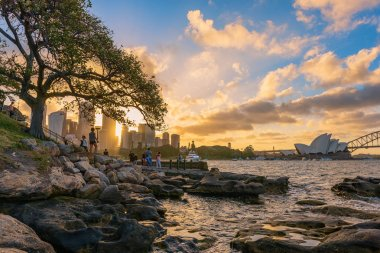 Sydney City and Sydney Opera House Australia at sunset