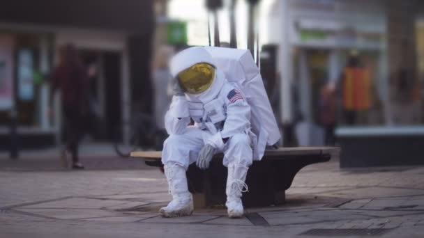 astronaut lost in a city