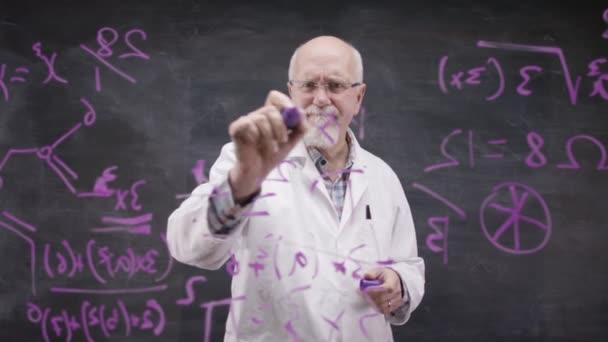 academic man writing math formulas