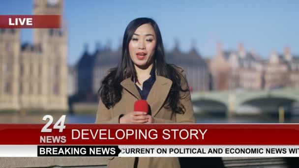 News reporter doing live piece to camera