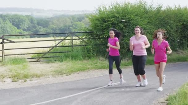 Female friends running in the countryside