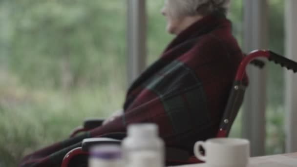 starší dáma sedí u okna