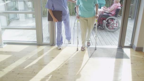 zdravotní sestra pomoci pacientovi chodit