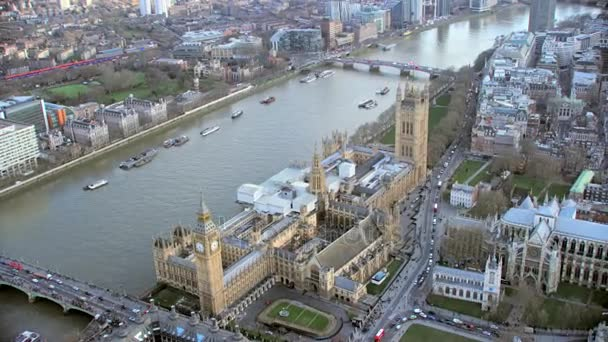 4K Aerial view of Big Ben and Houses of Parliament and Westminster Abbey in Londons City of Westminster