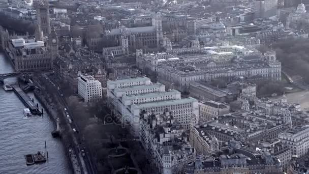 4K Aerial view above Londons city of Westminster and some of the citys most famous landmarks