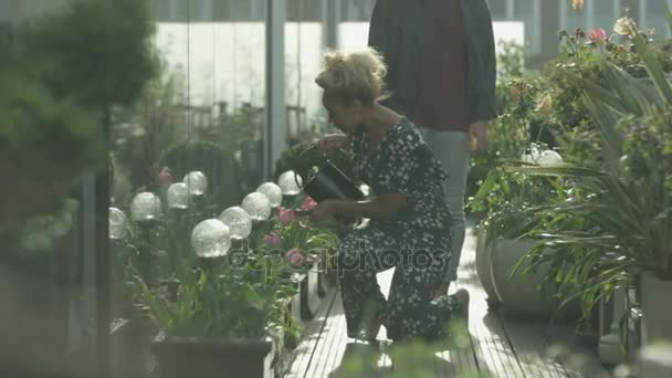 4K Young romantic couple water plants and looking out at view in apartment garden