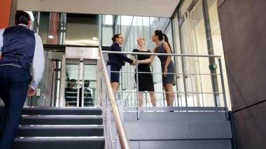 4K Businesswomen shaking hands and talking in modern office