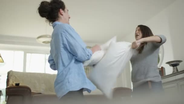 4K Happy couple having a pillow fight and play fighting at home