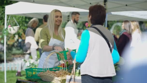 4K Cheerful woman selling fresh fruits and veg to customers at summer market