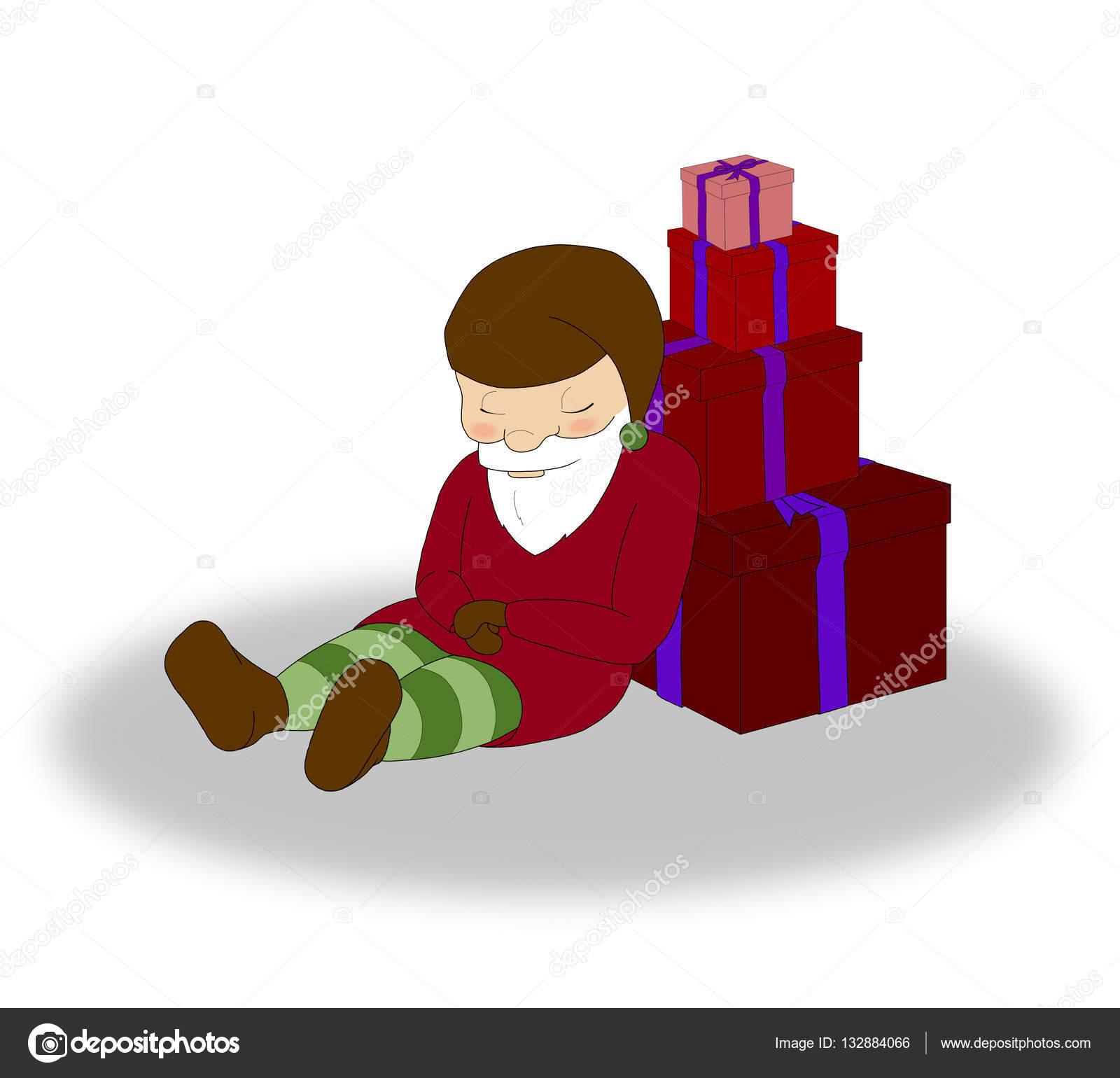 Illustration De Noël Elf Avec Beaucoup De Coffrets Cadeaux