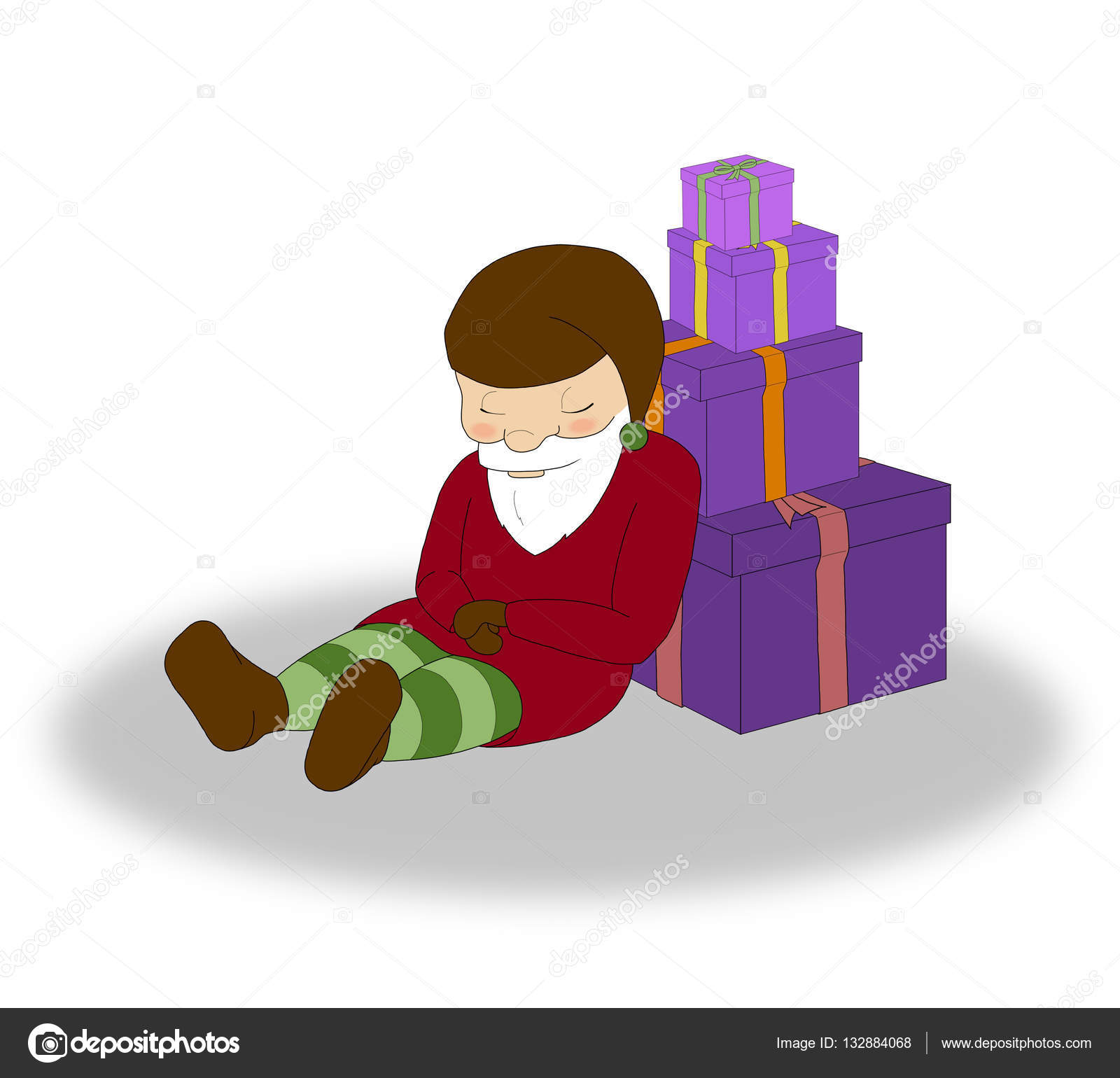 illustration of christmas sleeping elf with a lot of purple gift