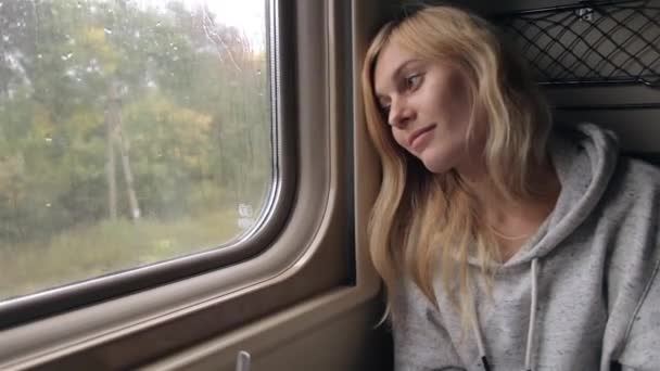 Girl Looking Out of the Window While Sitting in a Train