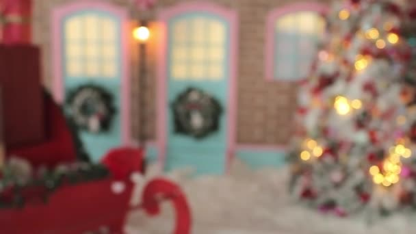 Blurred Santas Sleigh With Presents Box