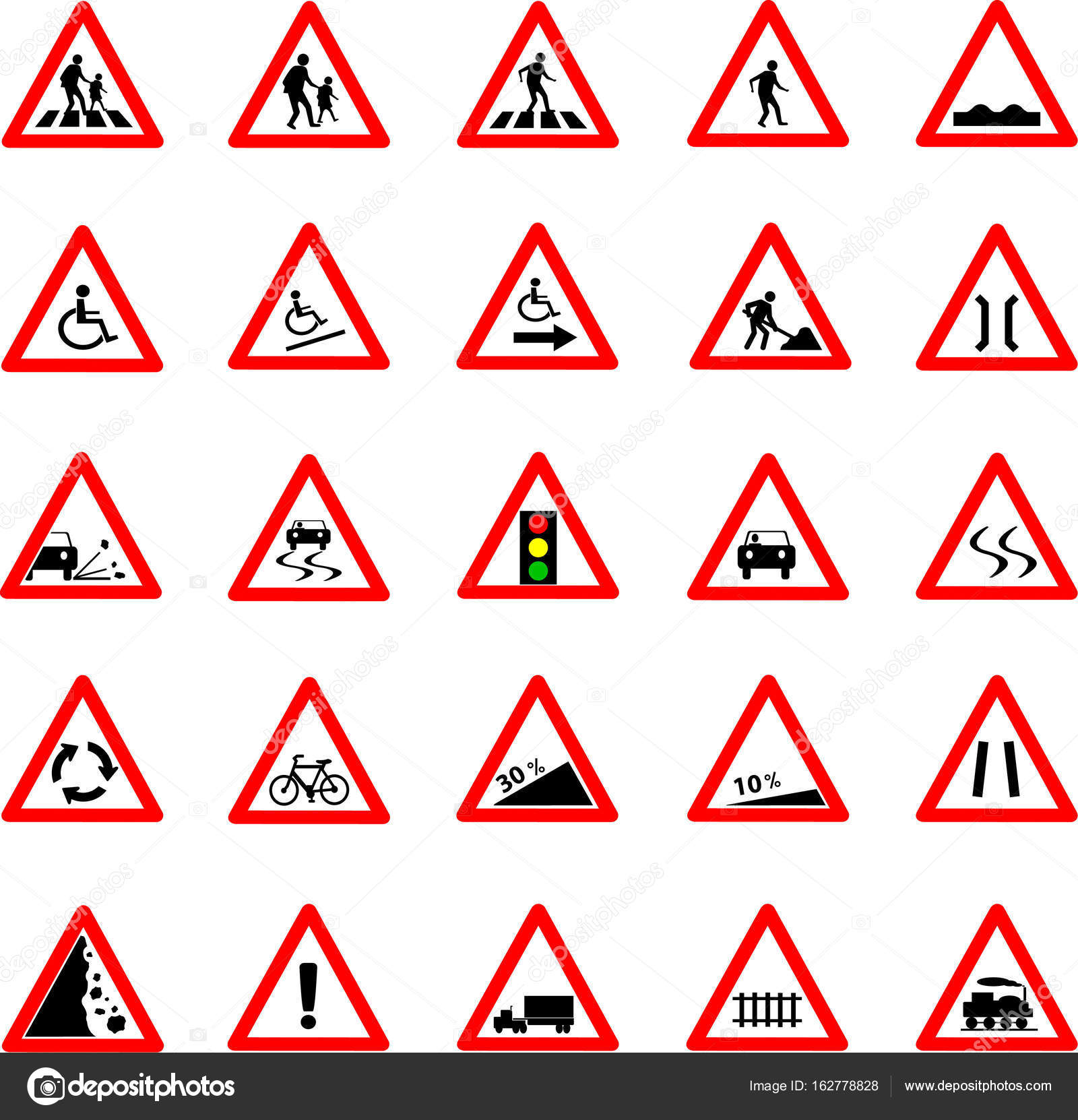 Triangle Road Signs >> Triangle Traffic And Road Sign Set Stock Vector C Stoonn 162778828