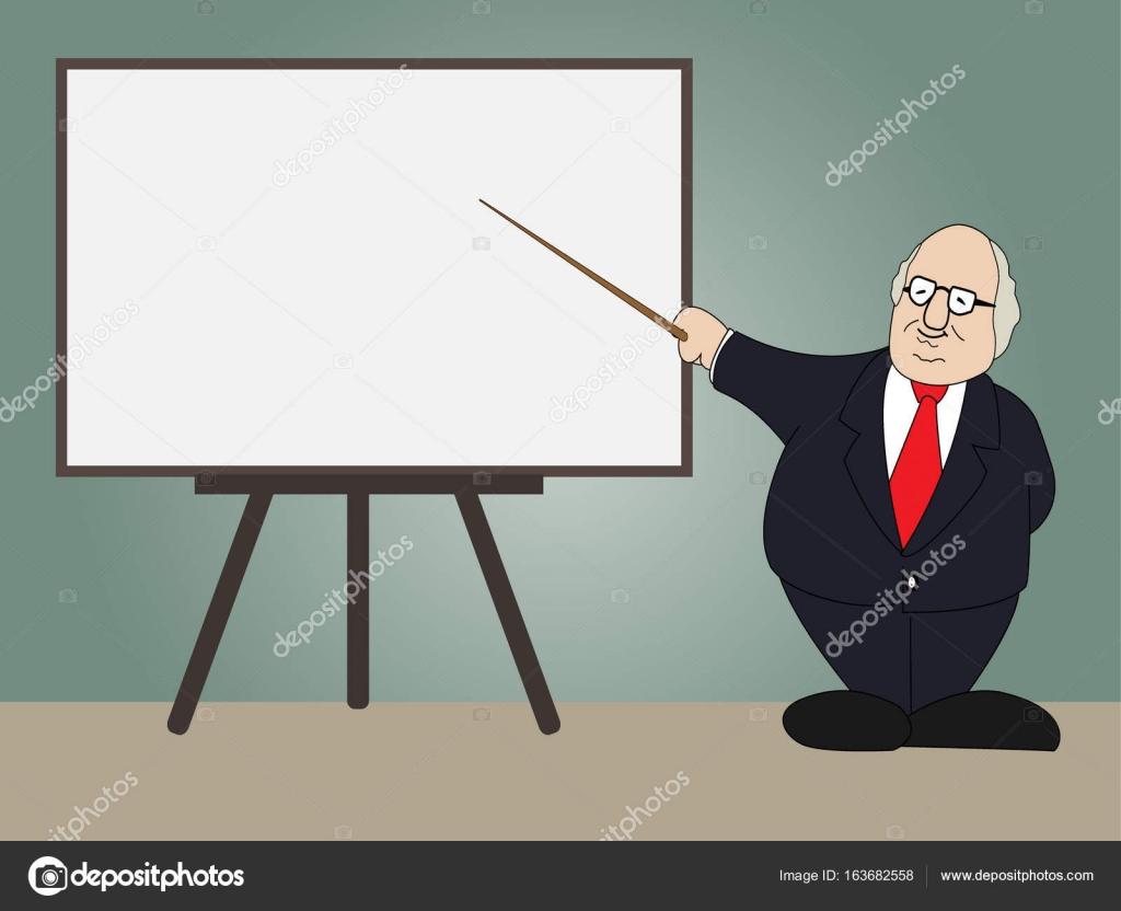 ホワイト ボードに教授のプレゼンテーション ストックベクター