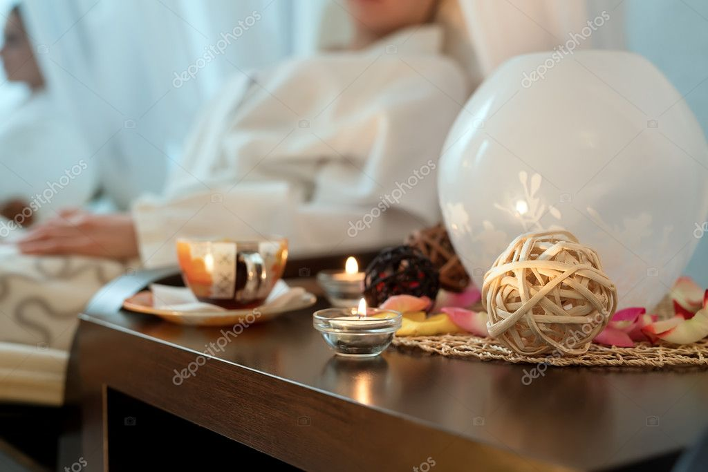 Close-up image of decor table in spa salon
