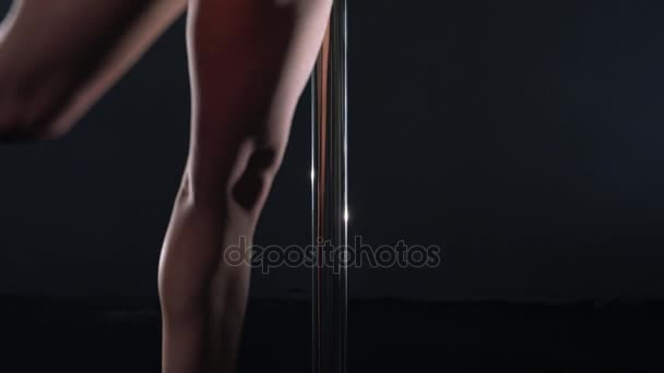Pole dance. View of sexy dancers body, close-up