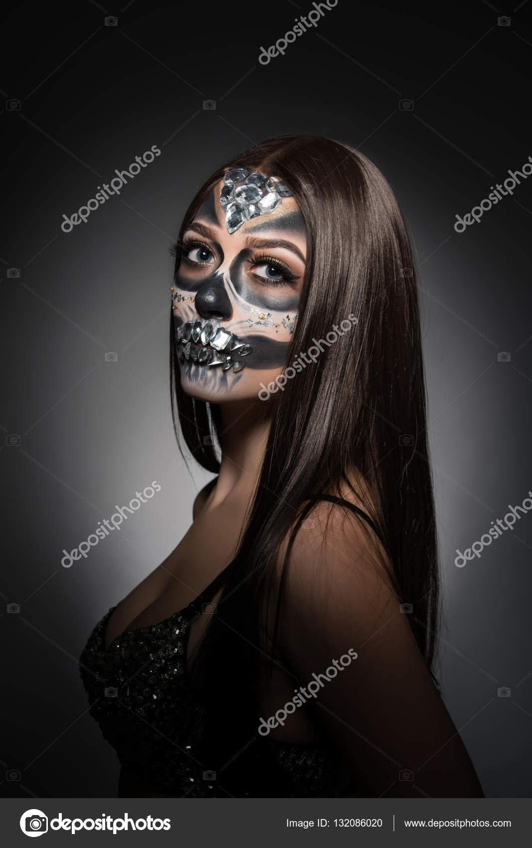 Santa Muerte Hübsche Junge Frau Mit Gesicht Kunst Stockfoto