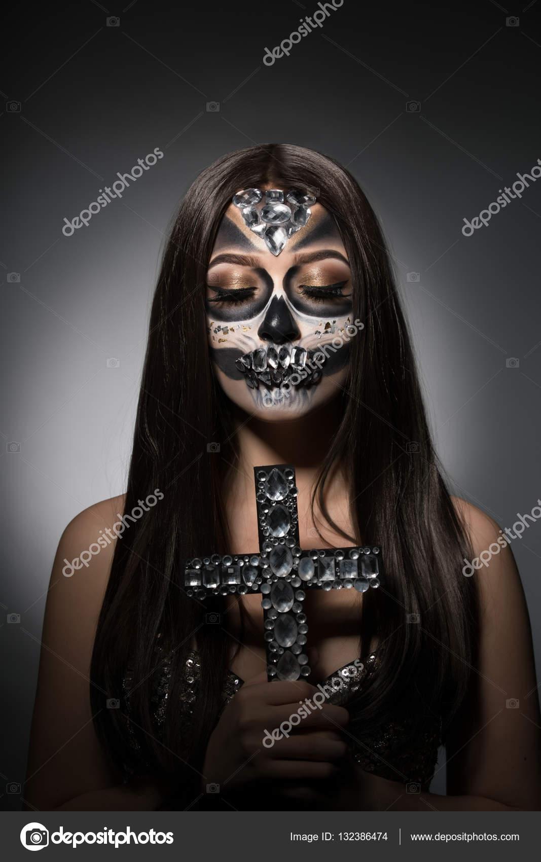 Santa Muerte Hübsches Mädchen Mit Glamourösen Gesicht Kunst