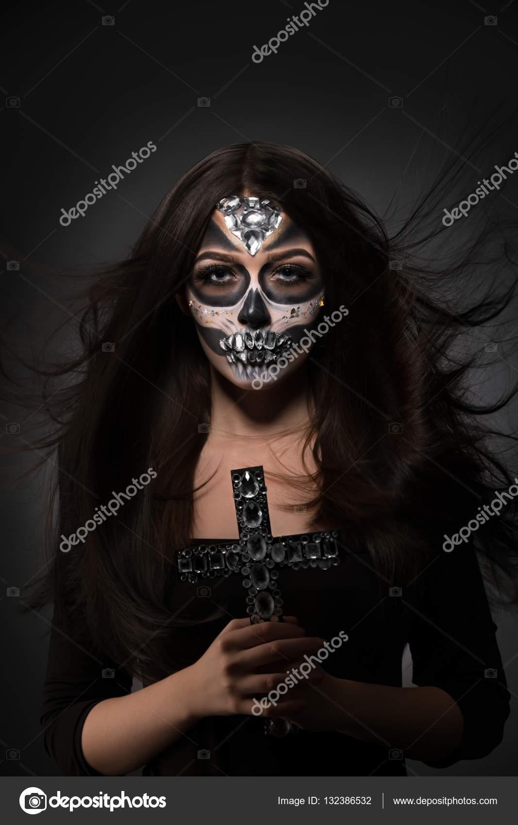 Glamour Version Der Santa Muerte Sexy Model Posiert Stockfoto