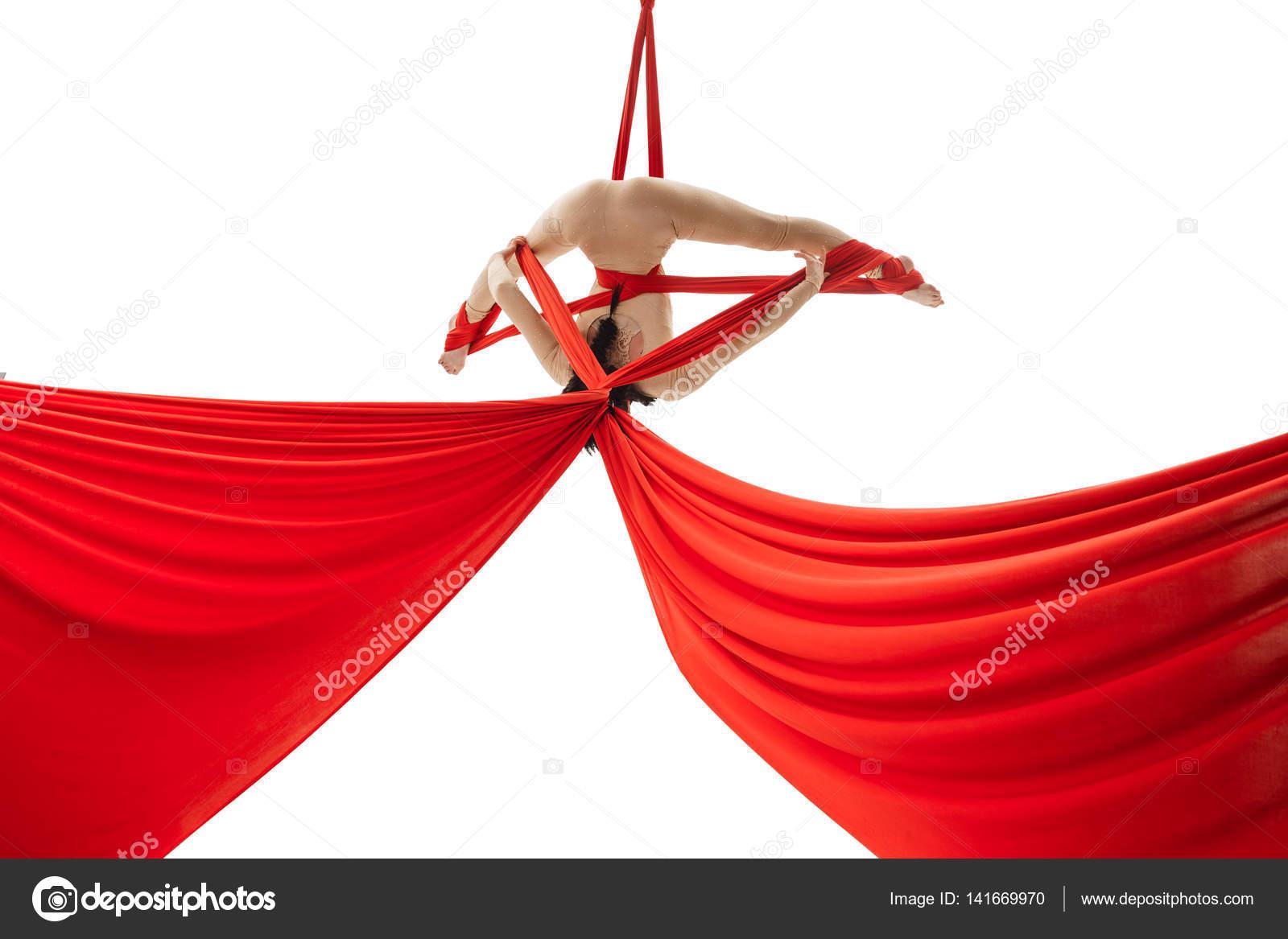 aerialist doing acrobatic tricks on aerial silks  u2014 stock photo aerialist doing acrobatic tricks on aerial silks  u2014 stock photo      rh   depositphotos