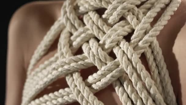 Shibari-Seil-Muster um Mädchen Hals und Brust