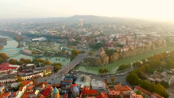 Old and modern buildings of Tbilisi, aerial