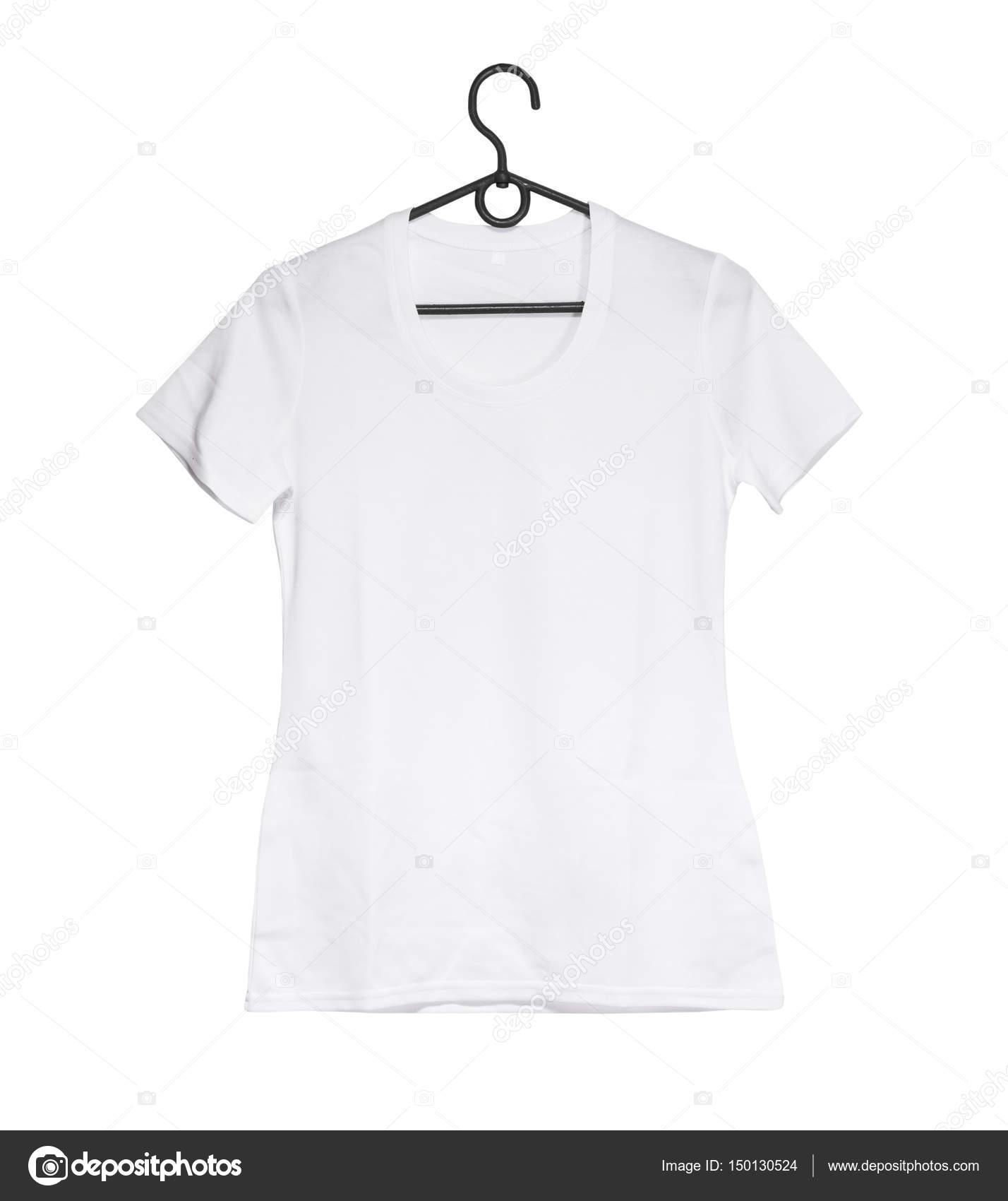 weiße Frau T-shirt auf Kleiderbügel — Stockfoto © GekaSkr #150130524