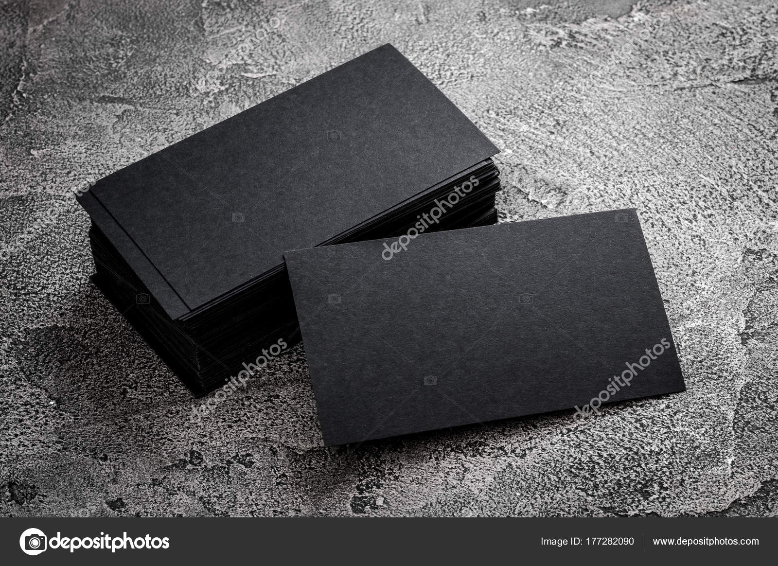 Black paper business card template stock photo gekaskr 177282090 black paper business card template on grey background blank name card for text space photo by gekaskr reheart Images