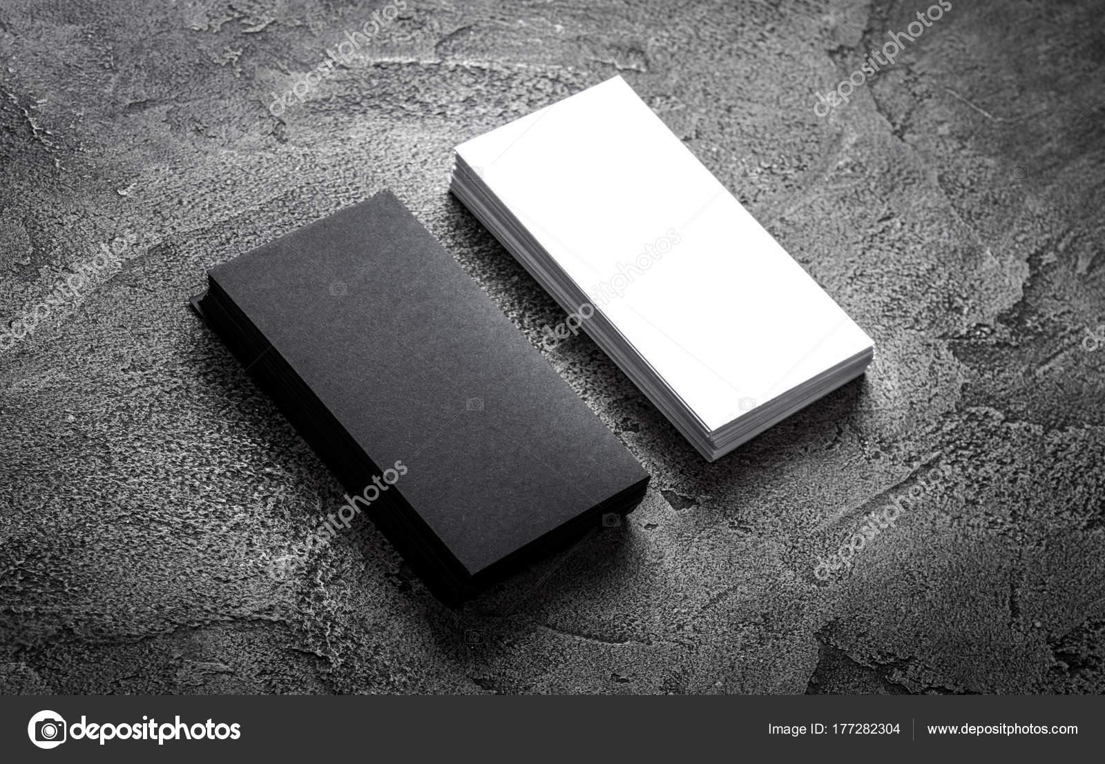 Modele De Carte Visite Papier Noir Sur Fond Gris Vierge Pour Lespace Texte Image