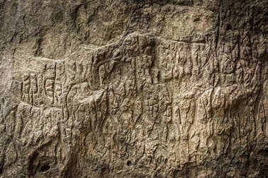 Ancient rock carvings in Gobustan National Park