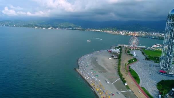 Letecký pohled na nábřeží v Batumi, Gruzie