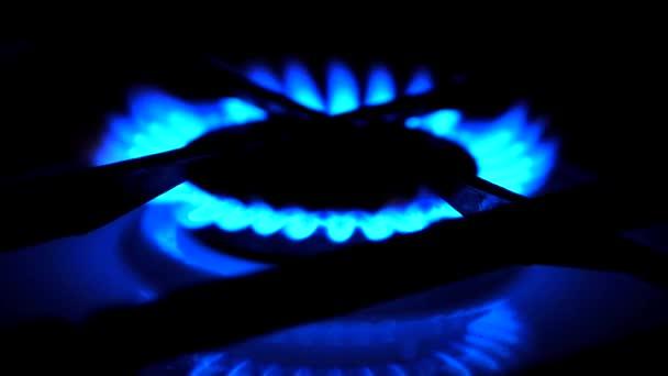 Plynová varná deska hořáku prsten na plynový sporák. Modrý plamen plynový sporák