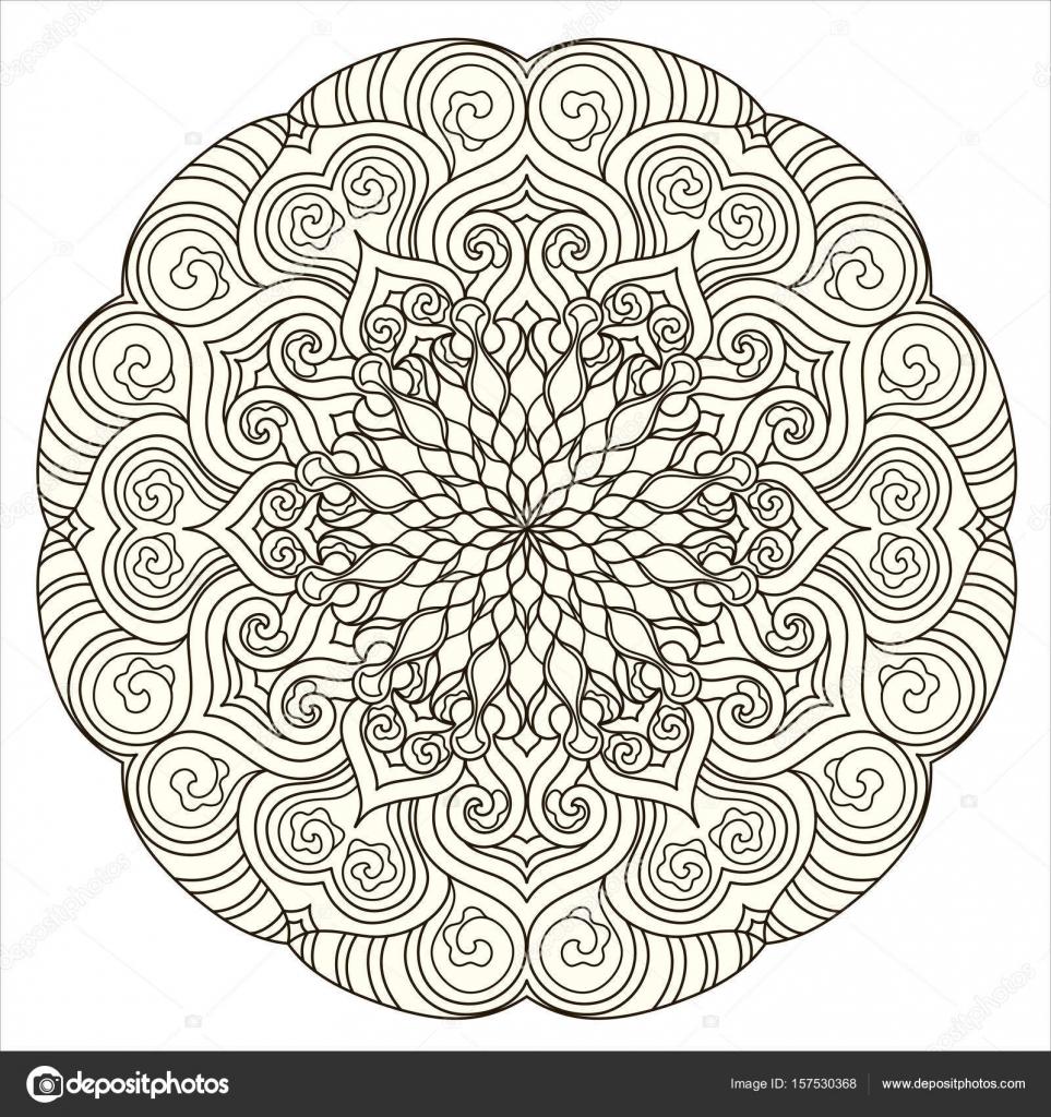 Mod le de mandala rond avec l ments d coratifs dessin s - Modele de mandala ...