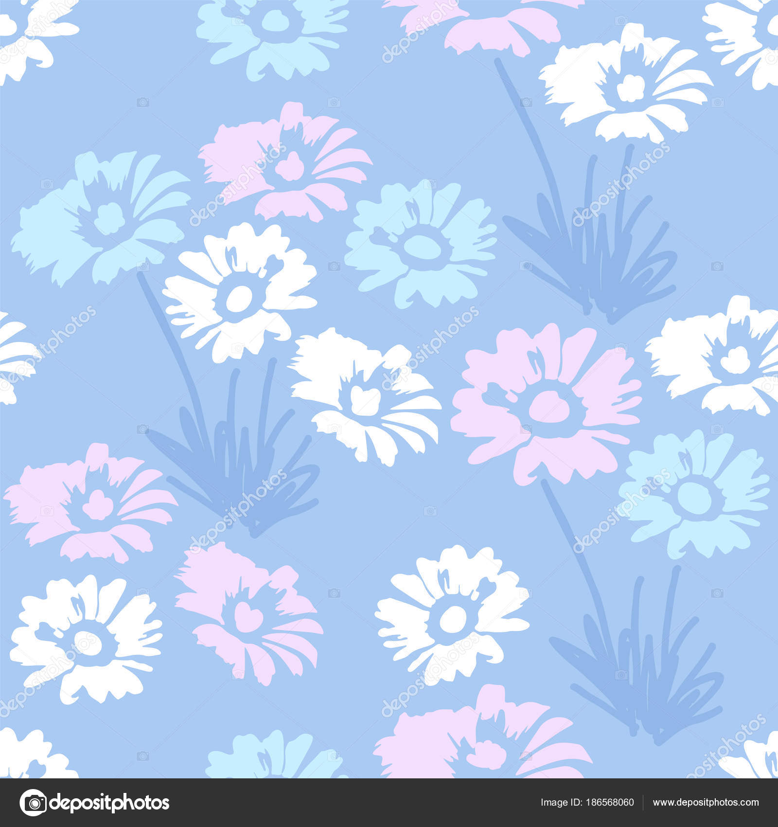 Vector Seamless Floral Pattern With Daisy Flowers Stock Vector