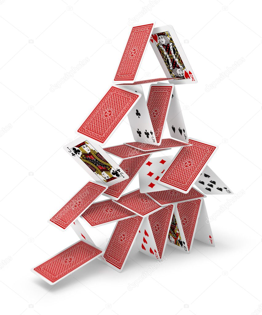 House of cards tower 3D collapsing — Stock Photo © anterovium ...
