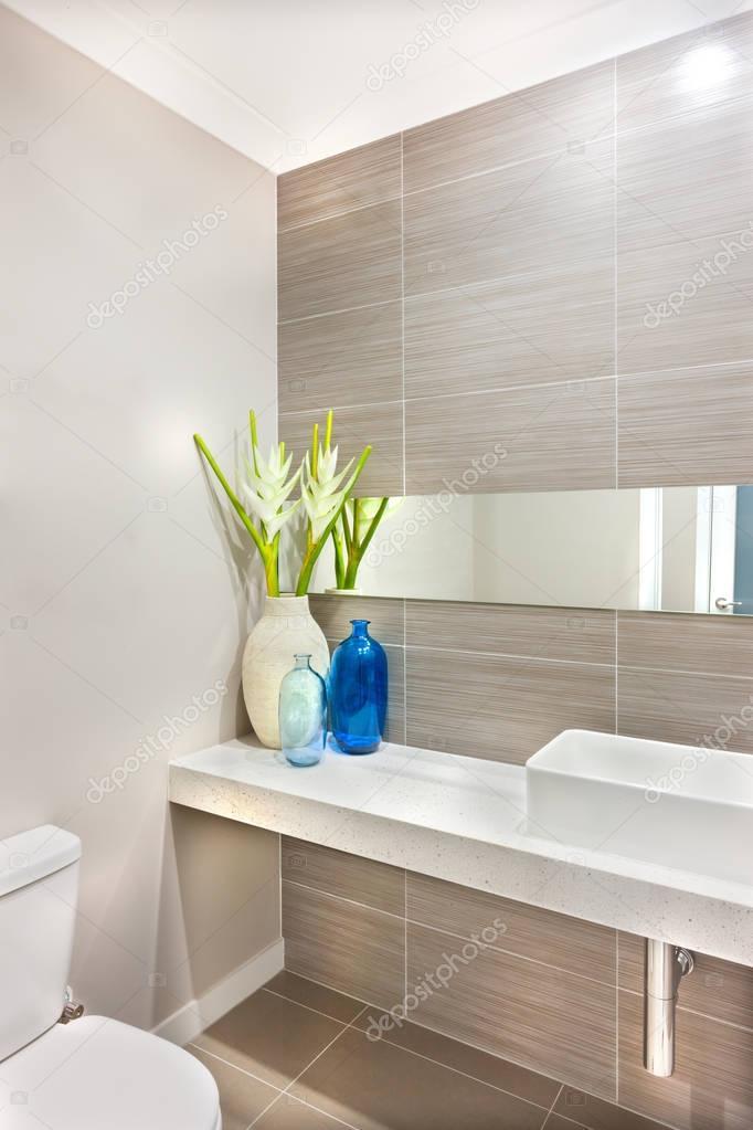 Décoration d\'une salle de bain en utilisant une plante verte avec ...